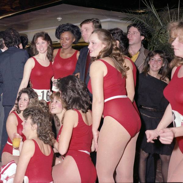 Donald Trump and cheerleader contestants for the New Jersey Generals, a football team he owned in 1984-1985.