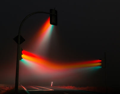 Traffic lights if the fog near Weimar, Germany.