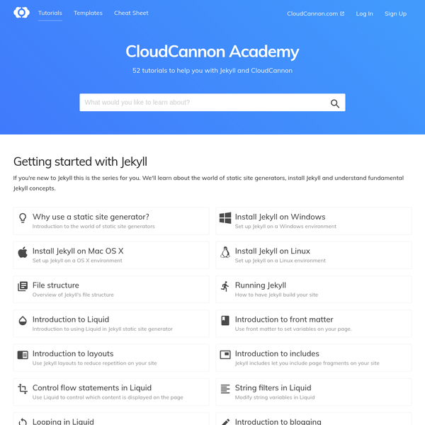 CloudCannon and Jekyll tutorials and resources