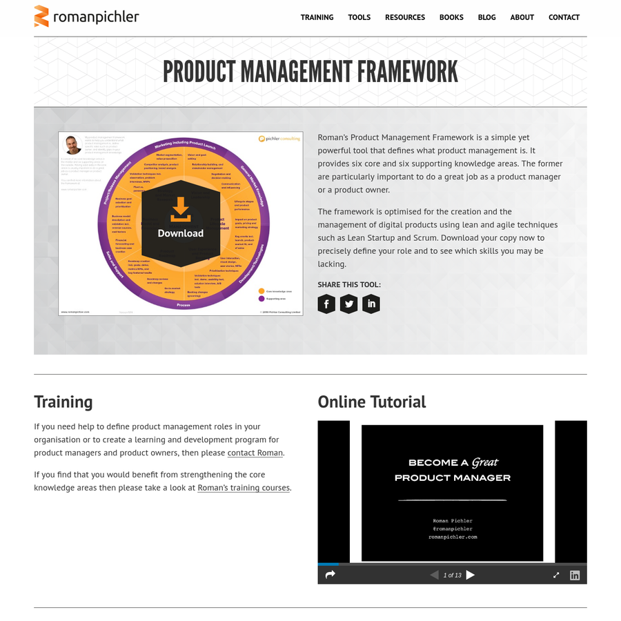 Roman's Product Management Framework is a simple yet powerful tool that defines what product management is. It provides six core and six supporting knowledge areas. The former are particularly important to do a great job as a product manager or a product owner.