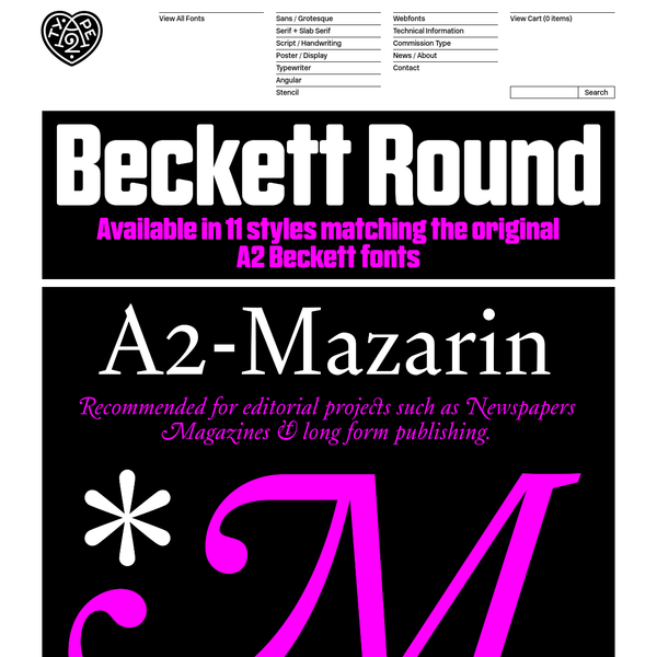 A2-TYPE is a new type foundry set up by the London based design studio A2/SW/HK.