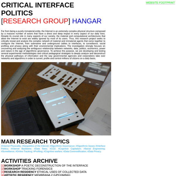 CRITICAL INTERFACE POLITICS RESEARCH GROUP