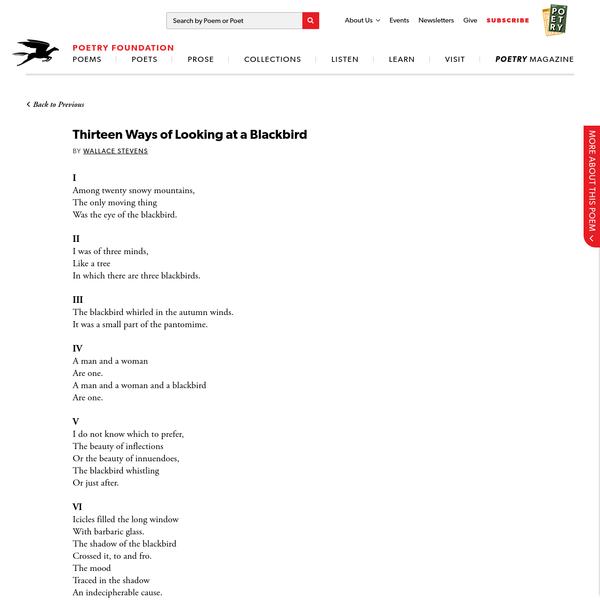 Thirteen Ways of Looking at a Blackbird by Wallace Stevens