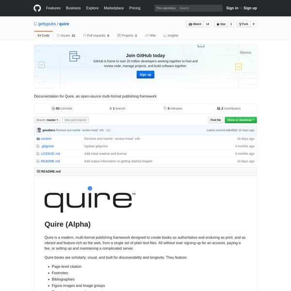 quire - Documentation for Quire, an open-source multi-format publishing framework