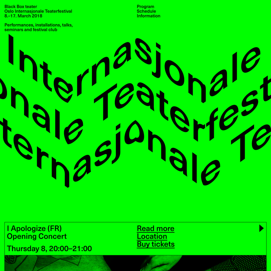 Oslo Internasjonale Teaterfestival has been the pulsing heart of Black Box teater's Spring season since 2013. Daring and surprising, it's become an annual rendez-vous for performing arts in Oslo in March.