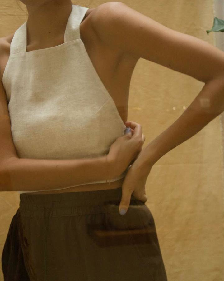 Limited run of our Apron Top in Natural French Linen now available online at www.araw-araw.com