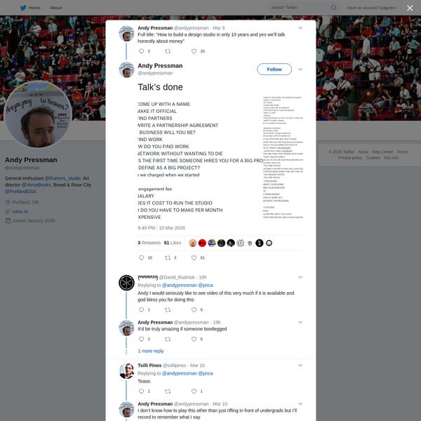 Andy Pressman on Twitter