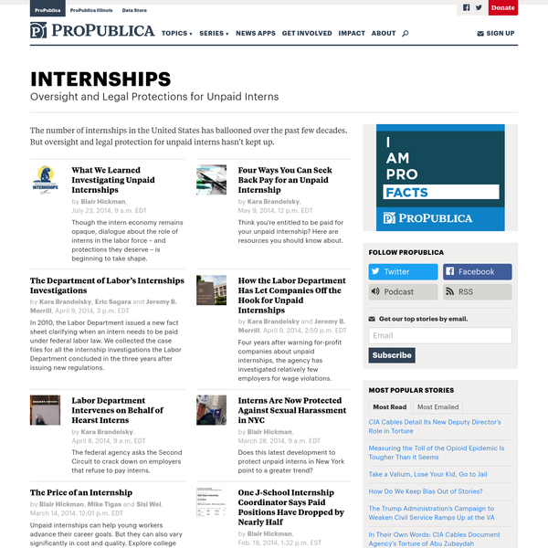Oversight and Legal Protections for Unpaid Interns