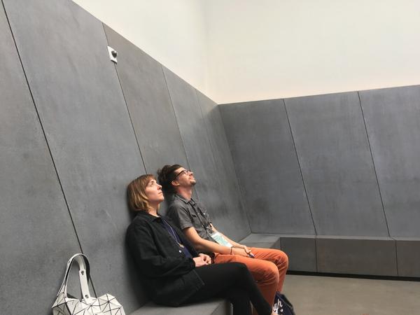 friends inside James Turrell's Sky Pesher