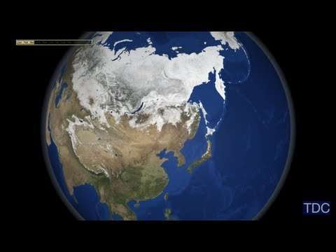 The seasons change in seconds in this new NASA timelapse flyover of planet earth. Using data from the Moderate Resolution Imaging Spectroradiometer (MODIS) aboard NASA's Terra satellite, scientists and data visualizers stitched together a full year's worth of monthly observations of the land surface, coastal oceans, sea ice, and clouds into a seamless, photo-like mosaic of every square kilometer (.386 square mile) of our planet.