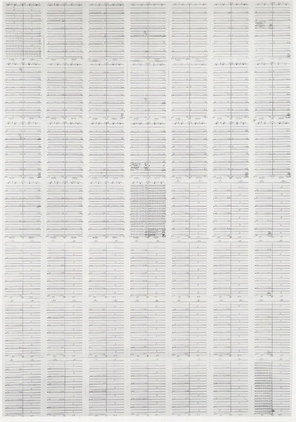 "Medium Graphite pencil on 49 sheets of lined paper Dimensions 96 1/2 x 69"" (245.1 x 175.2 cm) overall; 13 3/4 x 9 7/8"" (34.9 x 25.0 cm) each"