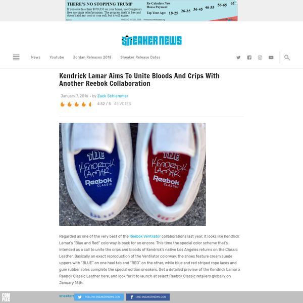 """Regarded as one of the very best of the Reebok Ventilator collaborations last year, it looks like Kendrick Lamar's """"Blue and Red"""" colorway is back for an encore. This time the special color scheme that's intended as a call to unite the crips and bloods of Kendrick's native Los Angeles returns on the Classic Leather."""