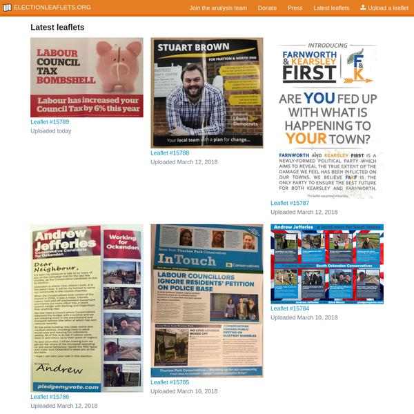 Latest leaflets   ElectionLeaflets.org