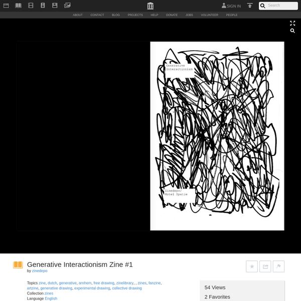 Generative Interactionism Zine #1 : zinedepo : Free Download & Streaming : Internet Archive