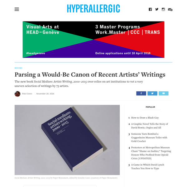 Parsing a Would-Be Canon of Recent Artists' Writings