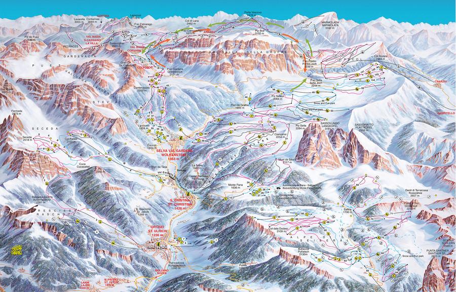 Piste map Gröden - Wolkenstein