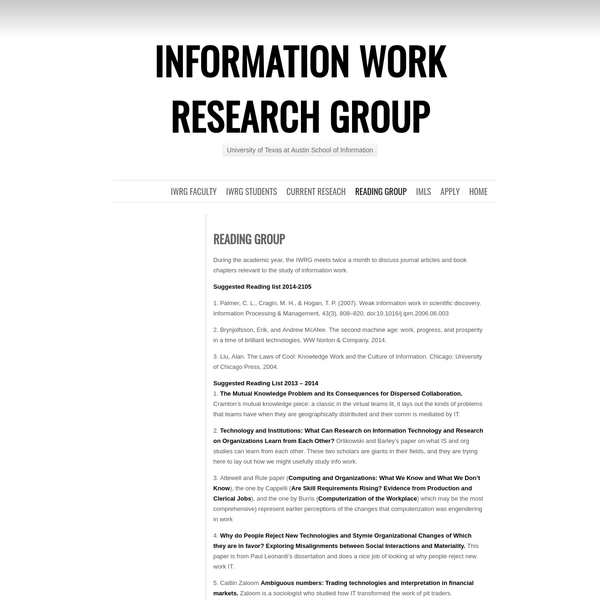 During the academic year, the IWRG meets twice a month to discuss journal articles and book chapters relevant to the study of information work. Suggested Reading list 2014-2105 1. Palmer, C. L., Cragin, M. H., & Hogan, T. P. (2007). Weak information work in scientific discovery. Information Processing & Management, 43(3), 808-820.