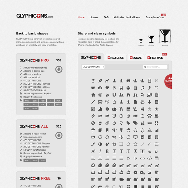 GLYPHICONS - library of precisely prepared monochromatic icons and symbols.
