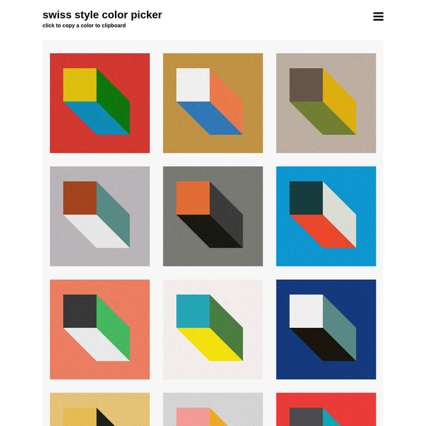 Swiss Style Color Picker | International Style Colors Scheme Palette