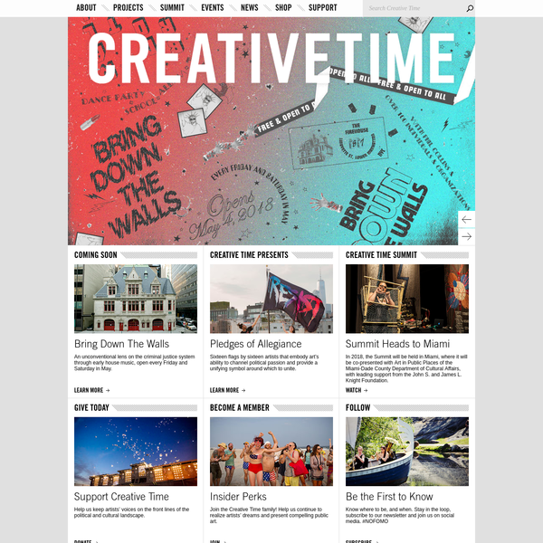 Creative Time presents the most innovative art in the public realm, working with artists to contribute to the dialogues, debates and dreams of our times.