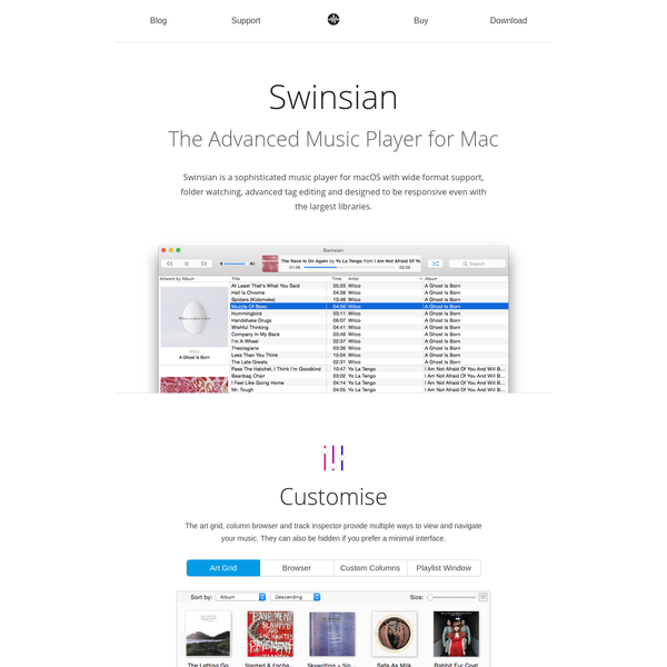 Swinsian is an advanced music player and manager for macOS supporting FLAC, MP3, Vorbis, WMA and more.