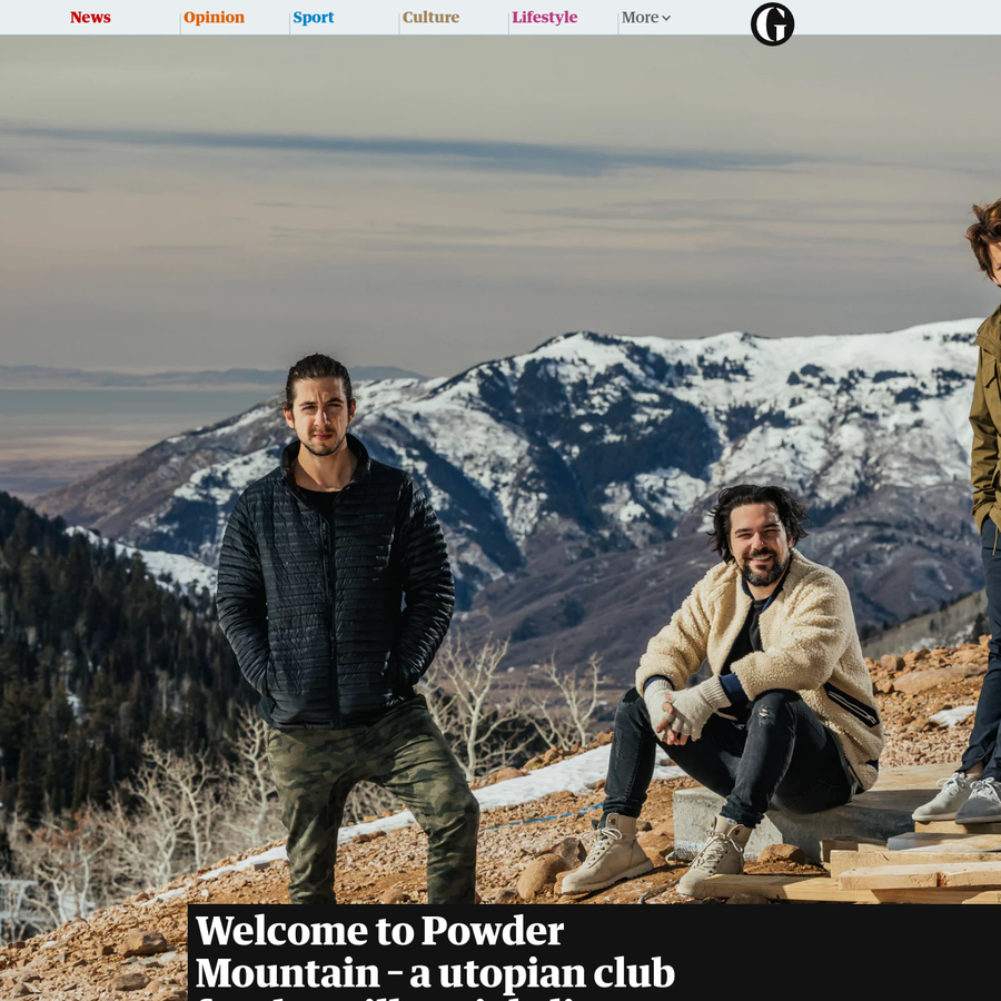 """Jeff Rosenthal is standing near the top of his snow-covered mountain wearing a fluffy jacket, fingerless gloves and ripped jeans. """"It's surreal, man!"""" he says, shivering as he surveys the landscape of newly laid roads and half-built homes. """"That's Ken Howery's house, the co-founder of PayPal. Awesome house!"""""""