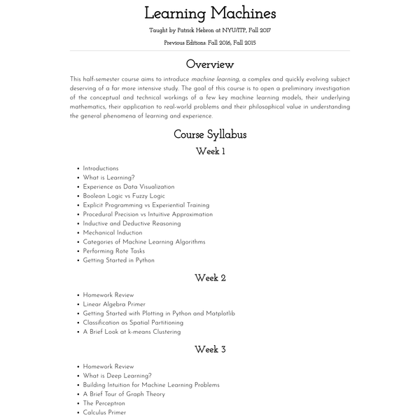 This half-semester course aims to introduce machine learning, a complex and quickly evolving subject deserving of a far more intensive study. The goal of this course is to open a preliminary investigation of the conceptual and technical workings of a few key machine learning models, their underlying mathematics, their application to real-world problems and their philosophical value in understanding the general phenomena of learning and experience.