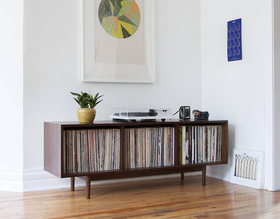 Mid Century Large Record Storage Cabinet // Console // 300+records // Walnut - $845.00 USD