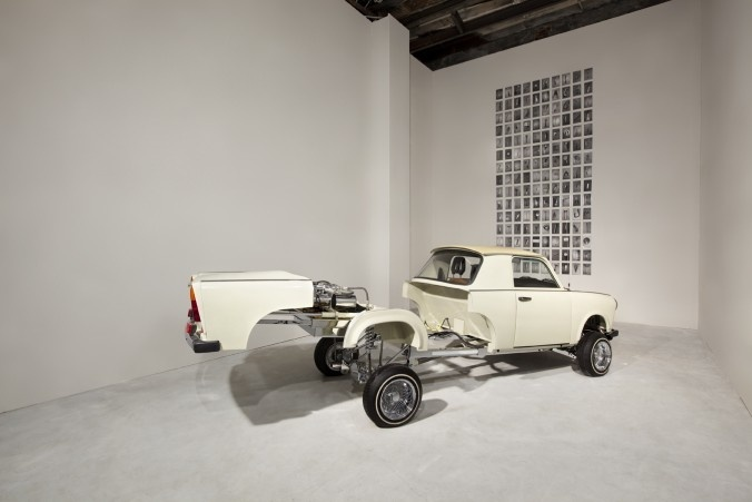 """Liz Cohen    Trabantimino    2002-present  What do you get when you cross a Trabant, the """"people's car"""" of East Germany, with an all-American Chevrolet El Camino? The """"Trabantimino,"""" a clunkily seductive, East-meets-West vehicle conceived and engineered by the Detroit-based artist Liz Cohen.  Source: [](http://www.nytimes.com/2010/10/29/arts/design/29galleries-06.html)[http://www.nytimes.com/2010/10/29/arts/design/29galleries-06.html](http://www.nytimes.com/2010/10/29/arts/design/29galleries-06.html)"""