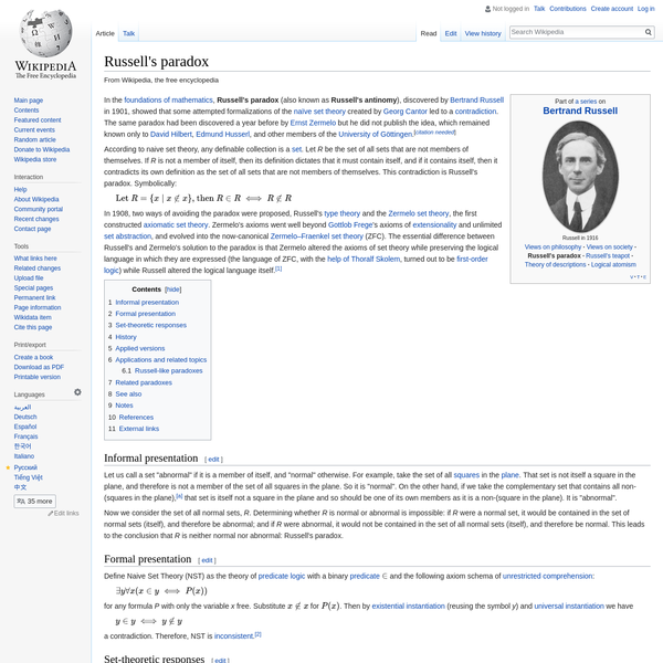In the foundations of mathematics, Russell's paradox (also known as Russell's antinomy), discovered by Bertrand Russell in 1901, showed that some attempted formalizations of the naïve set theory created by Georg Cantor led to a contradiction.