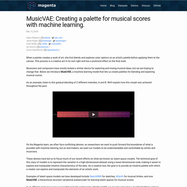 MusicVAE: Creating a palette for musical scores with machine learning.
