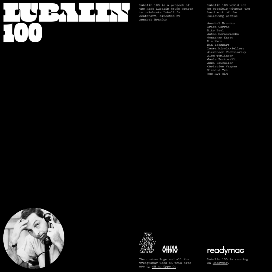 100 days celebrating Herb Lubalin's centenary (1918-2018). Project by the Herb Lubalin Study Center and Readymag.