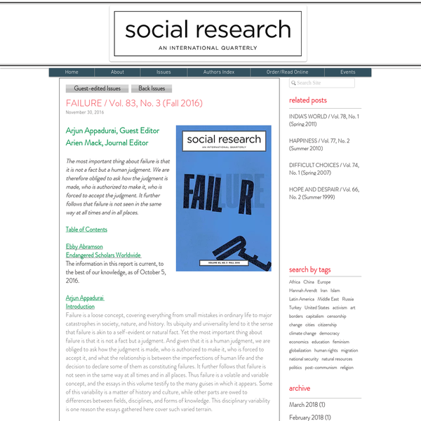 Social Research: An International Quarterly