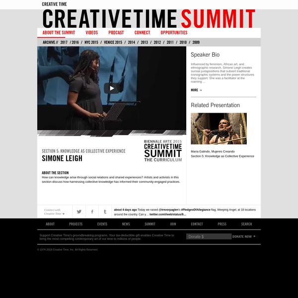 Every year at the Creative Time Summit, the most innovative artists, activists, critics, writers, and curators come together in New York to engage with one another, and a global audience, about how they are attempting to change our world in unprecedented ways.