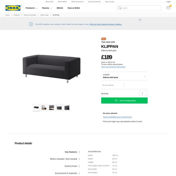 KLIPPAN Two-seat sofa Kabusa dark grey - IKEA