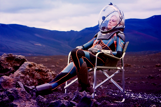 scifi-women:Charlize Theron behind the scenes of 'Prometheus'