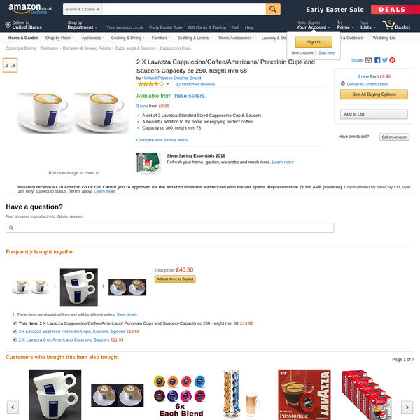 2 X Lavazza Cappuccino/Coffee/Americano/ Porcelain Cups and Saucers-Capacity cc 250, height mm 68 https://www.amazon.co.uk/dp/B00S9UXTSI/ref=cm_sw_r_oth_api_XbnSAb6ZJ5A50