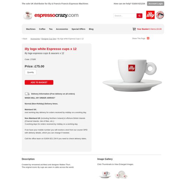 illy logo white Espresso cups x 12 - EspressoCrazy.com
