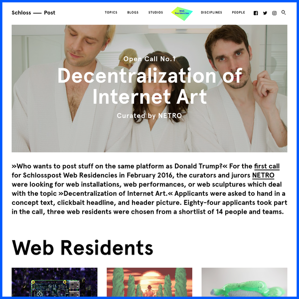 """""""Who wants to post stuff on the same platform as Donald Trump?"""" For the first call for Schlosspost Web Residencies in February 2016, the curators and jurors NETRO were looking for web installations, web performances, or web sculptures which deal with the topic """"Decentralization of Internet Art."""""""