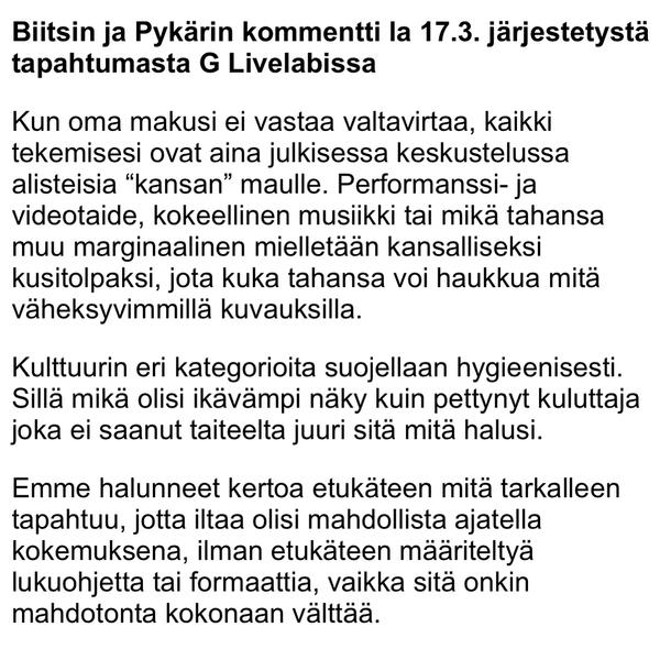 """75 Likes, 3 Comments - Pykäri (@pykari2) on Instagram: """"Vielä viime lauantaihin @glivelab issa pettyneille. T. @biitsiband ja Pykäri"""""""