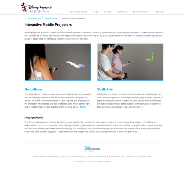 "Disney Research "" Interactive Mobile Projectors"