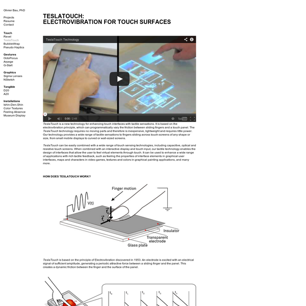TeslaTouch: Electrovibration for Touch Surfaces