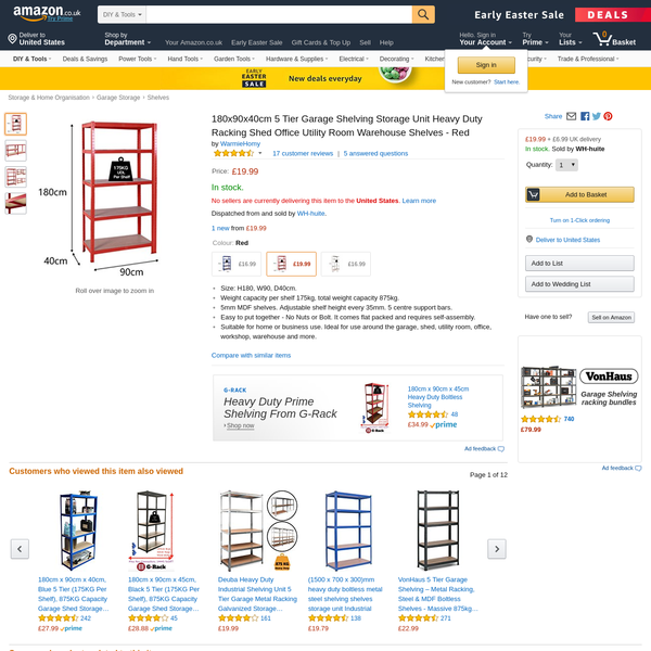 180x90x40cm 5 Tier Garage Shelving Storage Unit Heavy Duty Racking Shed Office Utility Room Warehouse Shelves - Red
