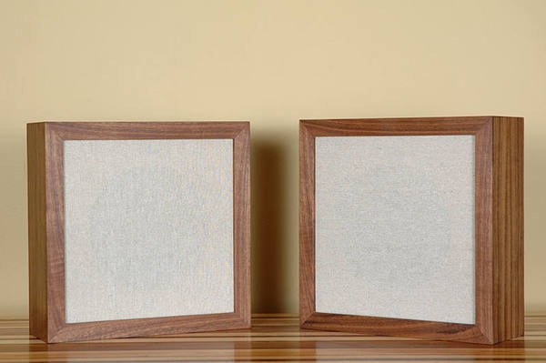 """Pair of handmade walnut speakers with unbleached cotton grill cloth 8"""" full range speakers Measures: 12x12 Stylish, sound great, handmade"""