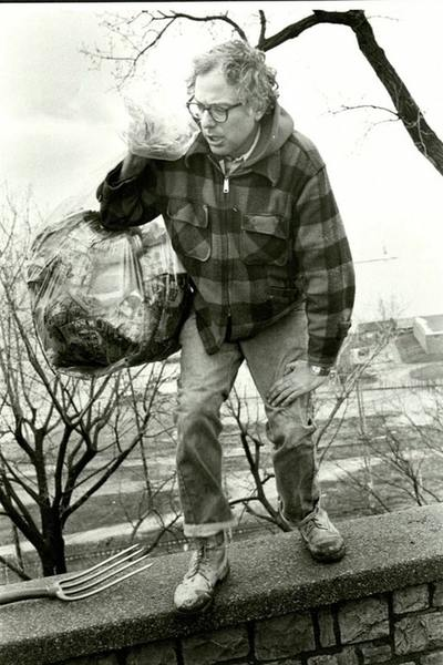 """""""Burlington Mayor Bernie Sanders picks up trash on his own in a public park after being elected in 1981, his first electoral victory"""""""
