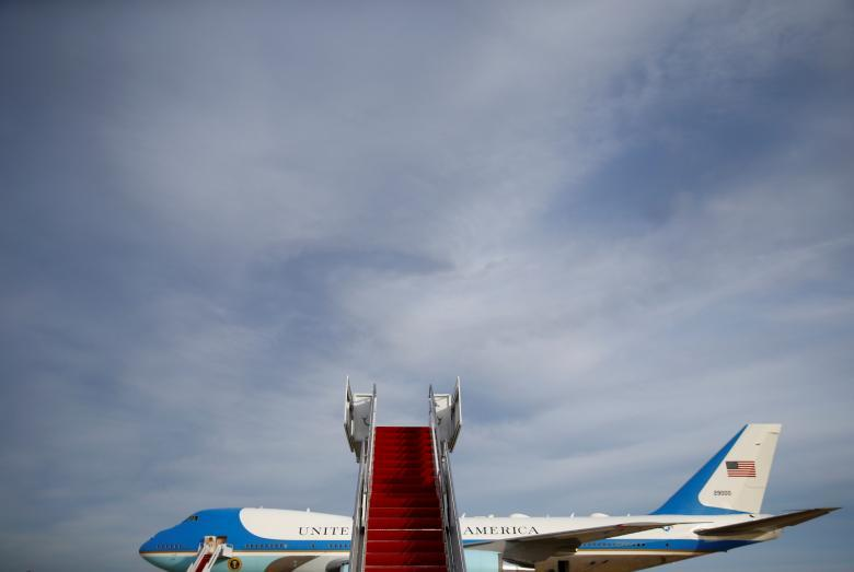 Air Force One is seen before President Donald Trump boards as he departs for West Palm Beach, Florida, from Joint Base Andrews, Maryland, November 21, 2017. REUTERS/Eric Thayer