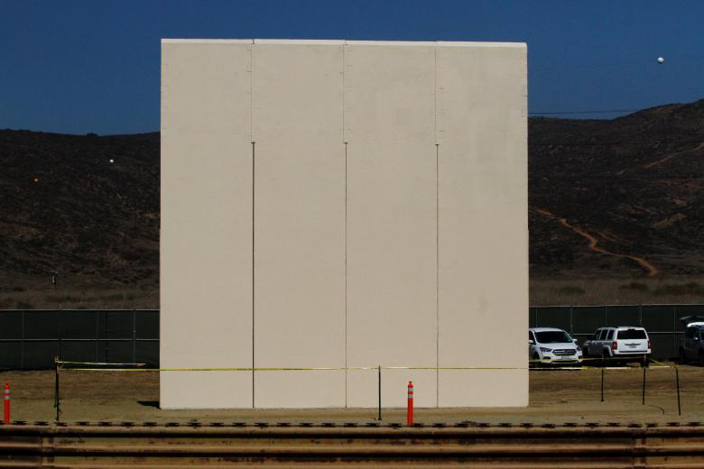 A prototype for President Donald Trump's border wall with Mexico is seen in this picture taken from the Mexican side of the border in Tijuana, Mexico October 12, 2017. REUTERS/Jorge Duenes