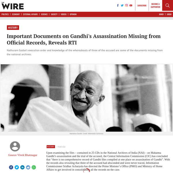 Important Documents on Gandhi's Assassination Missing from Official Records, Reveals RTI - The Wire