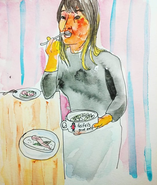 """Kira Lum draws a photo of me eating out of a bowl that my step mother made me that says """"Feifei's good eats"""""""