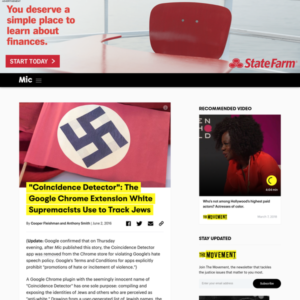( Update: Google confirmed that on Thursday evening, after Mic published this story, the Coincidence Detector app was removed from the Chrome store for violating Google's hate speech policy.